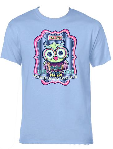 Volleyball Owl- Light Blue