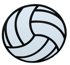 Round Volleyball Magnet-White
