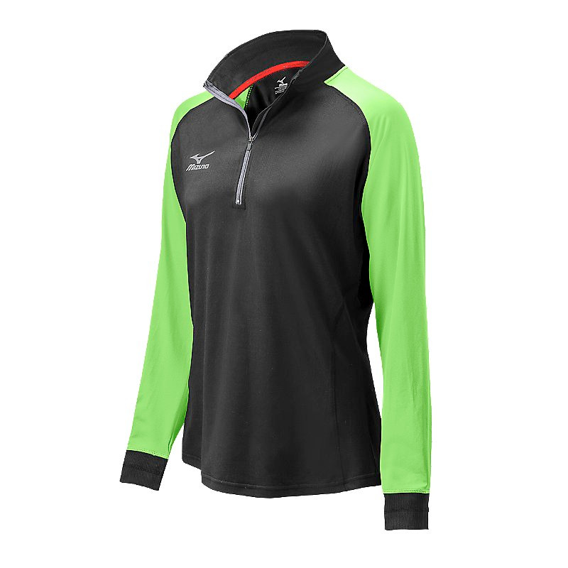 Mizuno Women's Elite 9 Prime 1/2 Zip Jacket - Black/Electric Green