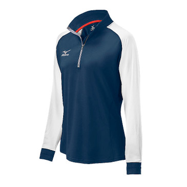 Mizuno Women's Elite 9 Prime 1/2 Zip Jacket - Navy/White