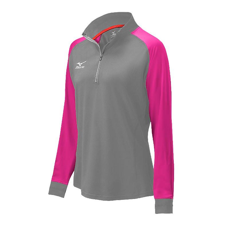 Mizuno Women's Elite 9 Prime 1/2 Zip Jacket - Charcoal/Shocking Pink