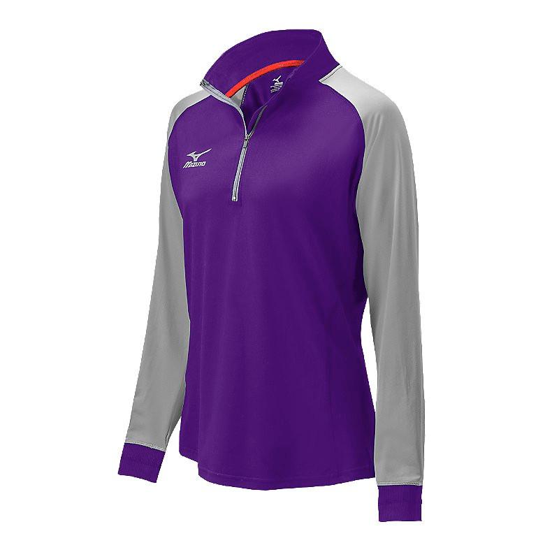 Mizuno Women's Elite 9 Prime 1/2 Zip Jacket - Purple/Grey