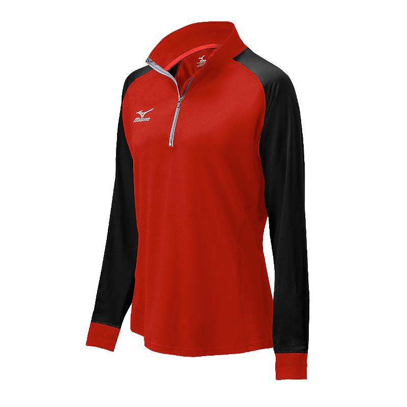 Mizuno Women's Elite 9 Prime 1/2 Zip Jacket - Red/Black