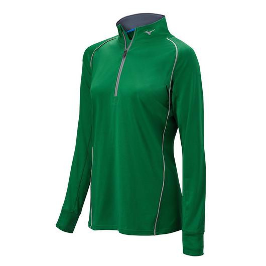 Mizuno Youth Comp 1/2 Zip Hitting Top- Forest