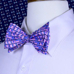 Nautical Flags Print Bow Tie - Navy Blue