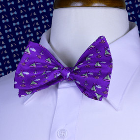 Sailboats & Fish Bow Tie - Purple