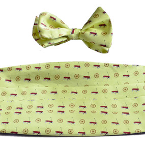 Wagon Wheel Cummerbund & Bow Tie Set - Yellow