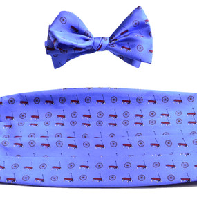 Wagon Wheel Cummerbund & Bow Tie Set - Blue