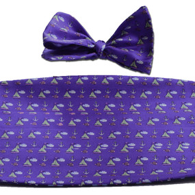 Sailboats & Fish Cummerbund & Bow Tie Set - Purple