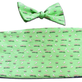 The Tiki Lounge Cummerbund & Bow Tie Set - Green