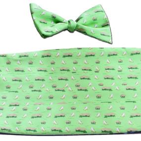 The Tiki Lounge Cummerbund & Bow Tie Set - Green