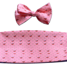 Horses & Horseshoes Cummerbund & Bow Tie Set - Salmon