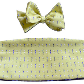 Tee Time Cummerbund & Bow Tie Set - Yellow