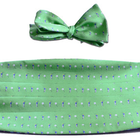 Tee Time Cummerbund & Bow Tie Set - Green