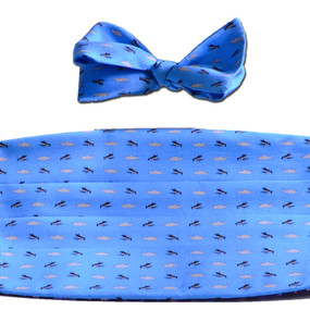 Fly Fishing Cummerbund & Bow Tie Set - Light Blue