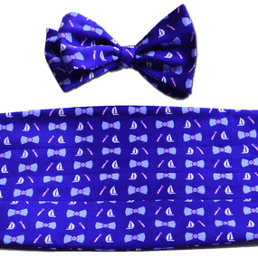 Classic BoatTie Print Cummerbund & Bow Tie Set - Navy Blue
