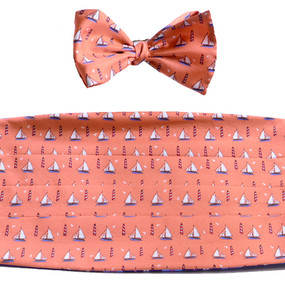 Sailboats & Lighthouses Cummerbund & Bow Tie Set - Peach