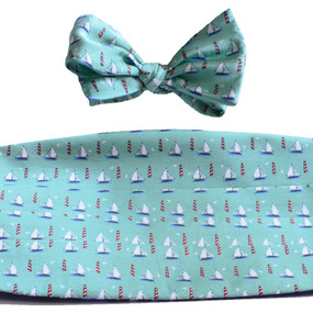 Sailboats & Lighthouses Cummerbund & Bow Tie Set - Green
