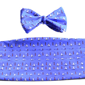 Sailboats & Lighthouses Cummerbund & Bow Tie Set - Blue