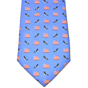 American Flags & Eagles Tie - Blue