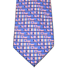 Nautical Flags Print Tie - Navy Blue