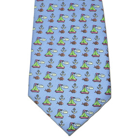 Sailboats & Fish Tie - Light Blue