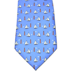 Sailboats & Lighthouses Tie - Blue