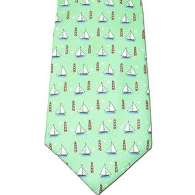 Sailboats & Lighthouses Tie - Green