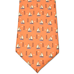 Sailboats & Lighthouses Tie - Peach