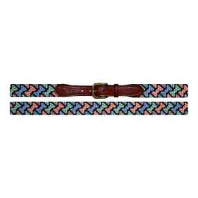 Smathers and Branson Diagonal Bow Tie Pattern Needlepoint Belt - Navy