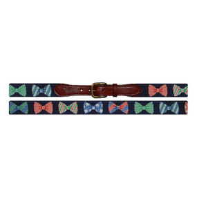 Smathers and Branson Horizontal Bow Ties Needlepoint Belt - Navy