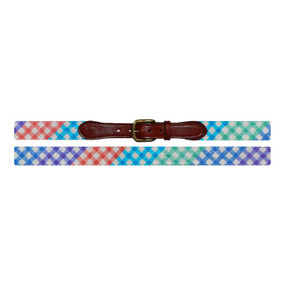 Smathers and Branson Patchwork Gingham Needlepoint Belt - Multi