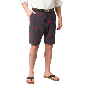 Cisco Embroidered Shorts with Lobsters - Navy