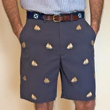 Cisco Embroidered Shorts with Sailboats - Navy
