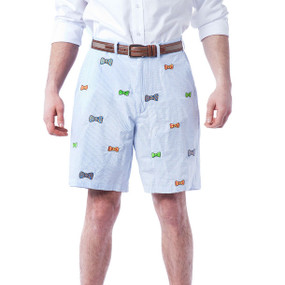 Cisco Embroidered Seersucker Shorts with Bow Ties - Blue