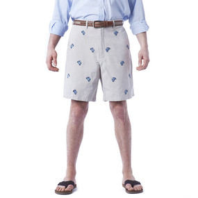 Cisco Embroidered Shorts with Crabs - Stone