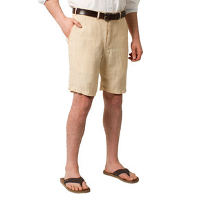 Castaway Clothing Solid Linen Shorts - Natural