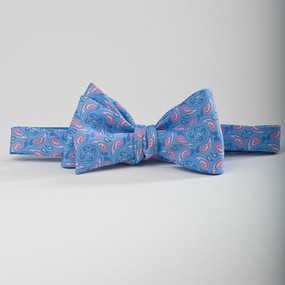 Southern Tide Paisley Skipjack Bow Tie - Light Blue & Pink
