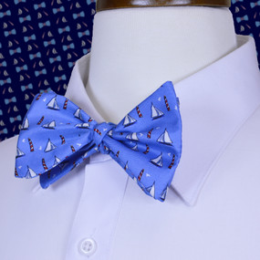 Sailboats & Lighthouses Bow Tie - Blue