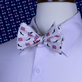 American Flags & Eagles Bow Tie - White