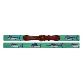 Smathers and Branson Bill Fish Needlepoint Belt - Mint Green