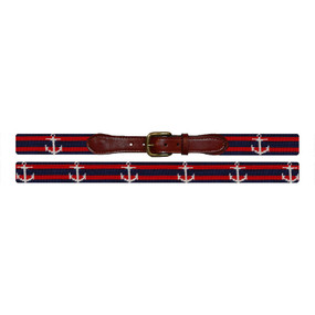 Smathers and Branson Striped Anchor Needlepoint Belt - Navy & Red