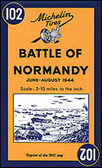 A reprint of Michelin's historic 1947 map of Normandy, showing the D-Day Landing sites, the subsequent troop movements, and the battle progressions that established an Allied foothold in the region. Coverage extends beyond the five landing beaches (Utah, Omaha, Gold, Juno and Sword): along the coast from Le Harve and the Seine estuary to the western side of the Cotentin Peninsula and Mont-St-Michel, and inland to include the Falaise – Mortain pocket.   Published two years after the end of the Second World War, the map shows the landing beaches, parachute drop points, early memorial sites, relics of battle such as gun emplacements, areas of significant damage, etc. These details are overlaid on the standard Michelin road map of the day, designed for touring.   An inset illustrates troop movements across the region and the line of attack by various Allied units. Accompanying text provides a brief description of the progress of the battle of Normandy, plus an index of historic names and places of interest highlighted on the map. Map legend and all the text are in English and French.