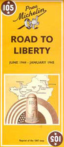 Road to Liberty June 1944 - January 1945 is a reproduction of the 1947 map published by Michelin to commemorate the liberation of France. The map shows the route of the Allied Forces across northern France, from the Normandy beaches to Alsace. Also shown are liberation dates against individual places and the location of American war cemeteries for both World Wars. Text is included on the map sheet which describes key events and actions on the road to liberty.