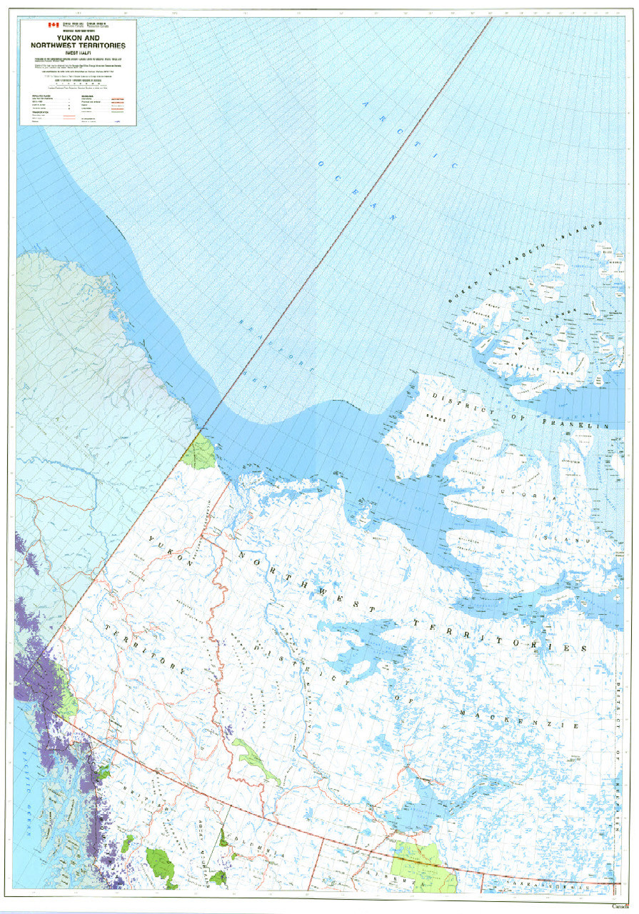 West Of Canada Map.Yukon And Northwest Territories West Northern Canada Map From 1989