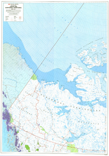 Yukon and Northwest Territories West Northern Canada Map from 1989