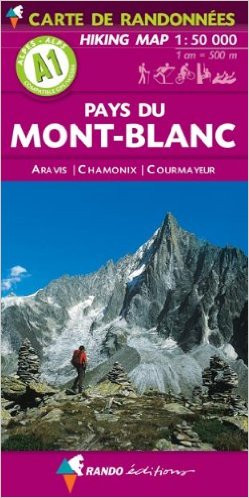Mont Blanc in a series of hiking maps from Rando Editions, with tourist information on a topographic base from the Institut Géographique National. Finely detailed cartography has contours at 20m intervals with relief-shading. Glaciers, cliffs, scree and wooded areas are shown, as well as springs, intermittent streams, etc. Local footpaths and the long-distance GR routes are highlighted and indicate whether signposted, difficult passages, ice hiking trails, and high mountain routes. Symbols highlight mountain huts, refuges and shelters, gîtes d'etape, campsites, numerous leisure and sport centres, places of interest, etc. Ski lifts indicate those open in summer. Boundaries of national parks and other protected areas are marked. The maps have a 2km UTM grid. Map legend includes English.