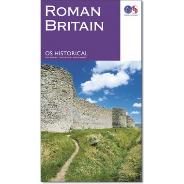 Roman Britain's sites, monuments and related museums overprinted on a large, double-sided present day map of the country at 1:625,000 from the Ordnance Survey, plus numerous panels, maps and photos providing extensive additional information.   The base map has altitude colouring to indicate the topography and shows the present day road network. Roman towns are marked, plus smaller settlements, villas and other substantial buildings, shrines, barrows or mausoleums, etc. Also indicated are various types of military installations, roads, aqueducts, mines, etc. Where appropriate, places are annotated with their Roman names. The map is overprinted with British National Grid.   Surrounding the map are numerous panels, maps and photos providing further information on archaeology, Roman military organization, urban settlements, industrial sites, religion including Christianity in Roman Britain, etc, plus recommendations of sites and museums to visit, a chronological table placing British events in a wider historical context, etc.   The map has been compiled by the national heritage bodies maintained by Historic England, Historic Environment Scotland and the Royal Commission on the Ancient and Historical Monuments of Wales. Publications date of this edition: February 2016.