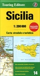 Sicily in Touring Club Italiano's series of regional road maps of Italy at 1:200,000, used by millions of locals and tourists alike and always among Stanford's perennial best-sellers. The island is presented on two generously overlapping panels. Coverage includes the tip of the mainland showing the ferry connections from Reggio di Calabria to Messina. Insets show the Aeolian (Lipari) Islands, Ustica, Egadi Islands, Pantelleria and the Pelagie Islands.   TCI maps have subtle but very effective relief shading plus spot heights to present the topography. Names of mountain ranges, valleys, peaks, etc. are shown and national parks and other protected areas are prominently highlighted. Road network is presented in great detail, from motorways to dirt tracks navigable only with difficulty. Minor roads are very clear and easy to read and, where necessary, are drawn without generalizing their course, showing the twists and turns across the mountainous terrain. Steep roads are annotated with three levels of gradient markings. Scenic routes are highlighted. Motorways have the usual features such as toll barriers, services, etc. Railway network shows stations and level crossings and, where appropriate, ferry routes are marked. In mountainous areas refuges, cable car lines, chair lifts, etc. are marked. Towns and villages of particular interest are highlighted in three grades, with symbols indicating various monuments, castes, churches, etc. The maps have no geographical co-ordinates. On the reverse each title has an index plus a national distance table. Map legend includes English.