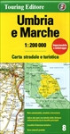 Umbria and the Marches in Touring Club Italiano's series of regional road maps of Italy at 1:200,000, used by millions of locals and tourists alike and always among Stanford's perennial best-sellers. Coverage extends from Florence in the north-west and San Marino southwards to Viterbo, Rieti, L'Aquila and Pescara, and includes Arezzo, Perugia, Urbino, Assisi, Spoleto, Ancona, Monti Sibillini National Park, Monti della Laga NP and the northern part of the Gran Sasso NP, etc.   TCI maps have subtle but very effective relief shading plus spot heights to present the topography. Names of mountain ranges, valleys, peaks, etc. are shown and national parks and other protected areas are prominently highlighted. Road network is presented in great detail, from motorways to dirt tracks navigable only with difficulty. Minor roads are very clear and easy to read and, where necessary, are drawn without generalizing their course, showing the twists and turns across the mountainous terrain. Steep roads are annotated with three levels of gradient markings. Scenic routes are highlighted. Motorways have the usual features such as toll barriers, services, etc. Railway network shows stations and level crossings and, where appropriate, ferry routes are marked. In mountainous areas refuges, cable car lines, chair lifts, etc. are marked. Towns and villages of particular interest are highlighted in three grades, with symbols indicating various monuments, castes, churches, etc. The maps have no geographical co-ordinates. On the reverse each title has an index plus a national distance table. Map legend includes English.